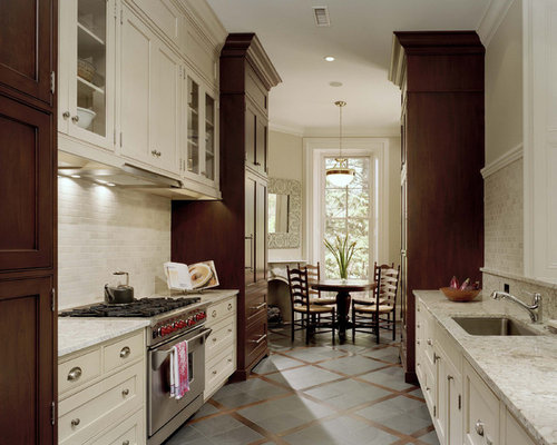 Traditional galley eat in kitchen design ideas remodel for Traditional galley kitchens