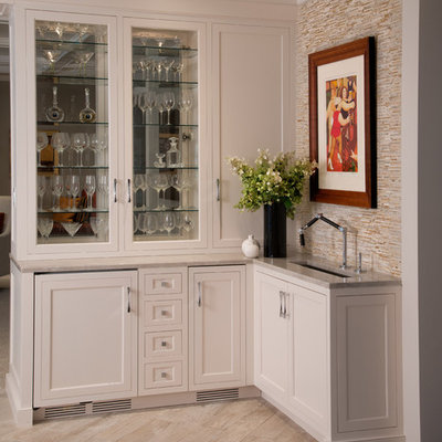 Large elegant galley painted wood floor and gray floor eat-in kitchen photo in Philadelphia with an undermount sink, shaker cabinets, dark wood cabinets, marble countertops, gray backsplash, stone slab backsplash, paneled appliances and an island