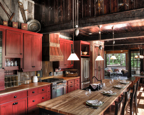 Houzz | Kitchen with Red Cabinets and a Farmhouse Sink Design ...