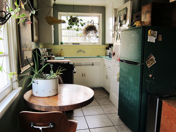 Eclectic Kitchen yellow + green kitchen