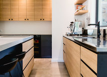 Amazing kitchen!! What's the wooden cabinet panel?