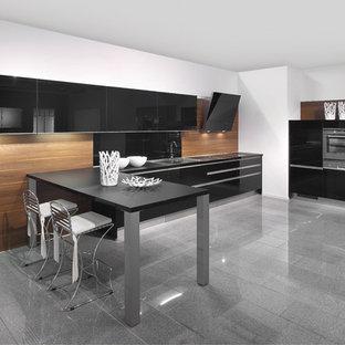 Idée de décoration pour une cuisine minimaliste avec un électroménager en acier inoxydable, un placard à porte plane, des portes de placard noires, une crédence noire et une crédence en feuille de verre.