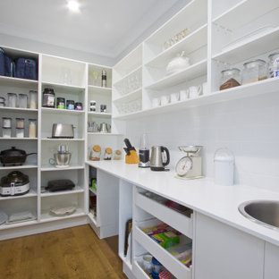 Inspiration for a large contemporary kitchen pantry in Sunshine Coast with an undermount sink, shaker cabinets, white cabinets, quartzite benchtops, mosaic tile splashback, stainless steel appliances and with island.