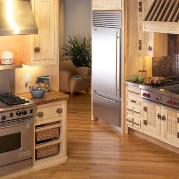 Zebra wood counters and basket weaved cabinets