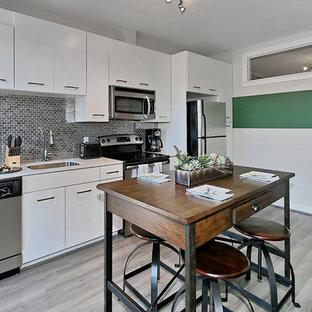フィラデルフィアの中くらいのアジアンスタイルのおしゃれなキッチン (ドロップインシンク、フラットパネル扉のキャビネット、白いキャビネット、クオーツストーンカウンター、メタリックのキッチンパネル、メタルタイルのキッチンパネル、シルバーの調理設備、無垢フローリング、グレーの床、白いキッチンカウンター) の写真