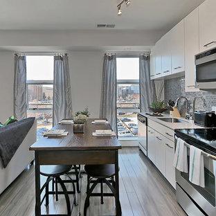 フィラデルフィアの中サイズのアジアンスタイルのおしゃれなキッチン (ドロップインシンク、フラットパネル扉のキャビネット、白いキャビネット、クオーツストーンカウンター、メタリックのキッチンパネル、メタルタイルのキッチンパネル、シルバーの調理設備の、無垢フローリング、グレーの床、白いキッチンカウンター) の写真