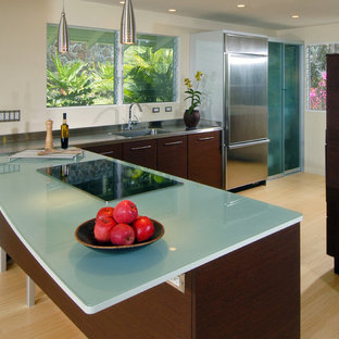 Design ideas for a contemporary l-shaped kitchen in Hawaii with flat-panel cabinets, stainless steel appliances, an integrated sink, dark wood cabinets, glass benchtops and turquoise benchtop.