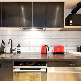 Photo of a small industrial single-wall open plan kitchen in Sydney with a single-bowl sink, ceramic splashback, stainless steel appliances and plywood flooring.