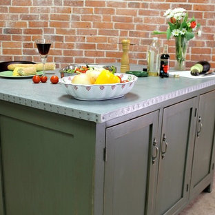 Inspiration for a country kitchen in Boston with shaker cabinets, green cabinets and zinc benchtops.