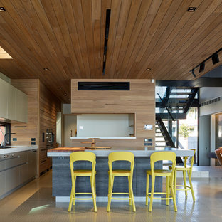Design ideas for a contemporary open plan kitchen in Sunshine Coast with flat-panel cabinets, beige cabinets, window splashback, panelled appliances, with island, beige floor and white benchtop.