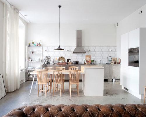 Skandinavische wohnküchen mit schrankfronten aus edelstahl ideen ...