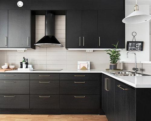 scandinavian kitchen with beige backsplash design ideas remodel