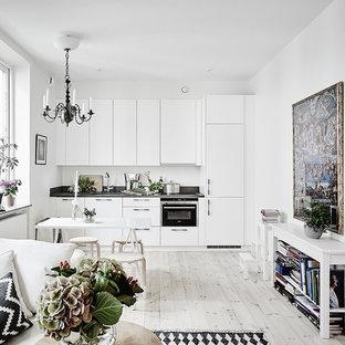 Ispirazione per una piccola cucina nordica con ante lisce, ante bianche, top in granito, parquet chiaro, nessuna isola e elettrodomestici in acciaio inossidabile