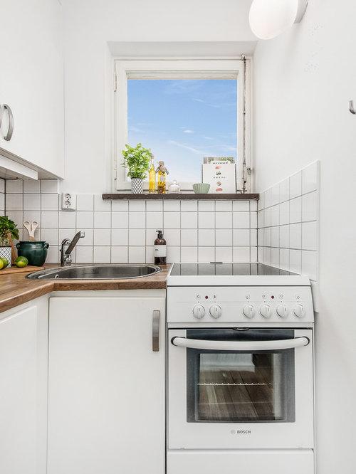 cuisine scandinave avec une cr dence en carreau de porcelaine photos et id es d co de cuisines. Black Bedroom Furniture Sets. Home Design Ideas