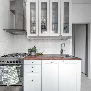 Foto på ett avskilt, litet nordiskt kök, med en enkel diskho, luckor med glaspanel, vita skåp, träbänkskiva och rostfria vitvaror