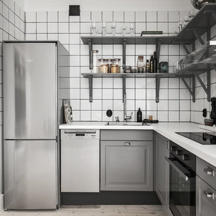 Small scandinavian kitchen pictures - Small danish kitchen photo in Stockholm with raised-panel cabinets, gray cabinets and no island