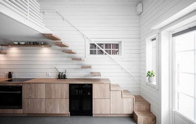 Houzz Швеция: Микростудия 20 кв.м — с сауной и огромным столом