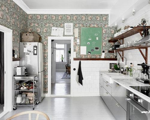 Foton och inspiration för retro kök, med skåp i rostfritt stål