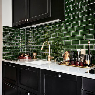 Small contemporary enclosed kitchen designs - Inspiration for a small contemporary single-wall multicolored floor enclosed kitchen remodel in Gothenburg with a single-bowl sink, black cabinets, marble countertops, green backsplash, stainless steel appliances and no island