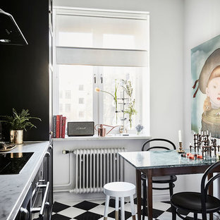 Small eclectic enclosed kitchen inspiration - Inspiration for a small eclectic single-wall multicolored floor enclosed kitchen remodel in Gothenburg with black cabinets, marble countertops, green backsplash, stainless steel appliances and no island