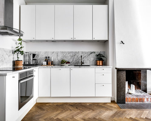 cuisine scandinave avec une cr dence en marbre photos et id es d co de cuisines. Black Bedroom Furniture Sets. Home Design Ideas