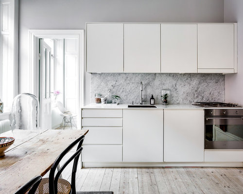 Best scandinavian kitchen with marble backsplash design for Scandinavian kitchen backsplash