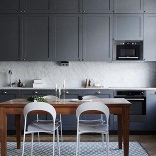 Idéer för funkis kök, med luckor med infälld panel och grå skåp