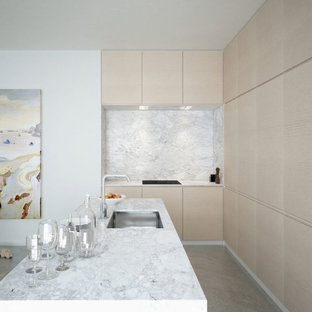 White oak with marble and concrete
