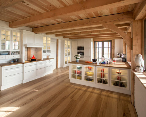 Large Farmhouse Open Concept Kitchen Designs Example Of A Country Galley Light Wood Floor