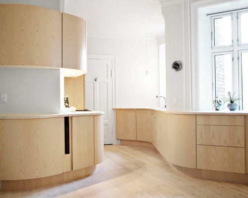Mid Sized Danish Galley Light Wood Floor Enclosed Kitchen Photo In Copenhagen With