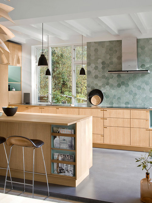 Scandinavian kitchen with mosaic tile backsplash design for Scandinavian kitchen backsplash