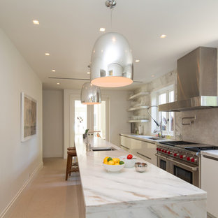 Contemporary Enclosed Kitchen Designs   Inspiration For A Contemporary  Galley Beige Floor Enclosed Kitchen Remodel In