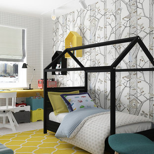Design ideas for a medium sized scandi nursery for boys in Other with grey walls and cork flooring.