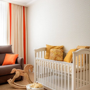 Photo of a medium sized classic gender neutral nursery in Yekaterinburg with white walls, cork flooring and beige floors.
