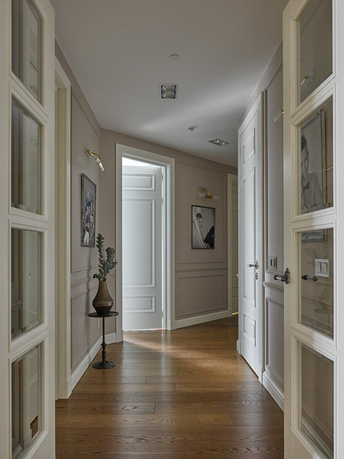 Traditional Medium Tone Wood Floor Hallway Idea In Moscow With Gray Walls