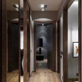 Inspiration for a contemporary medium tone wood floor and brown floor hallway remodel in Saint Petersburg