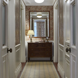Inspiration for a timeless ceramic floor hallway remodel in Moscow with beige walls