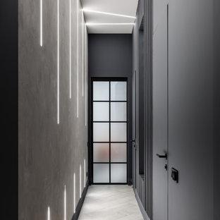 Idee per un ingresso o corridoio industriale con pareti grigie