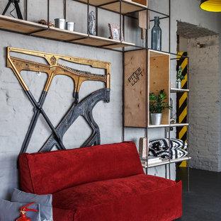 Idéer för stora eklektiska hallar, med grå väggar, linoleumgolv och grått golv