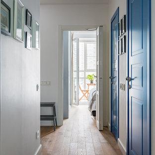 Свежая идея для дизайна: коридор среднего размера в классическом стиле с белыми стенами - отличное фото интерьера