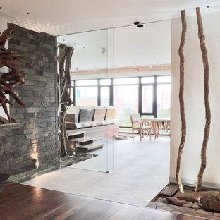 Свежая идея для дизайна: большой коридор в современном стиле с разноцветными стенами - отличное фото интерьера