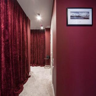 他の地域の小さいトランジショナルスタイルのおしゃれな廊下 (赤い壁、カーペット敷き、白い床) の写真