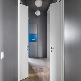 Новый формат декора квартиры: коридор в современном стиле с серыми стенами, паркетным полом среднего тона и коричневым полом