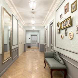 Hallway - mid-sized traditional ceramic floor and beige floor hallway idea in Moscow with blue walls