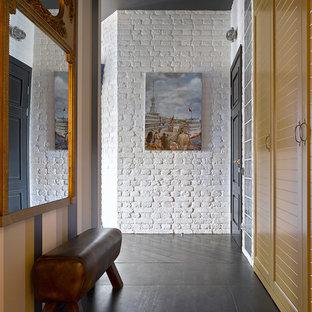 モスクワのエクレクティックスタイルのおしゃれな廊下 (マルチカラーの壁) の写真