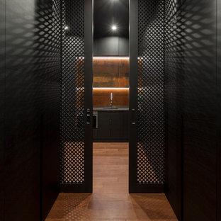 他の地域のコンテンポラリースタイルのおしゃれな廊下 (黒い壁、無垢フローリング) の写真
