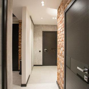 Inspiration för en mellanstor industriell hall, med vita väggar, vinylgolv och grått golv