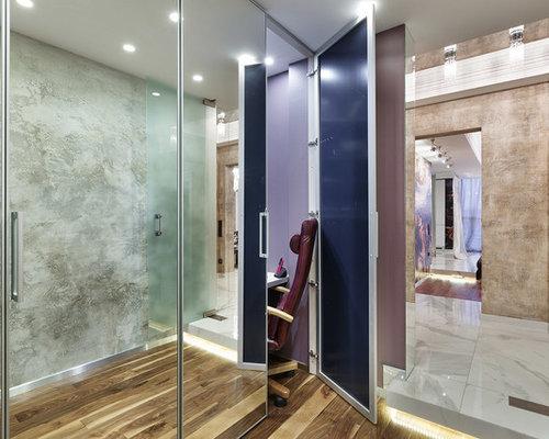 couloir avec un sol en linol um et un mur multicolore photos et id es d co de couloirs. Black Bedroom Furniture Sets. Home Design Ideas