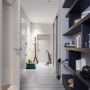 Mid-sized trendy cork floor and gray floor hallway photo in Moscow with gray walls