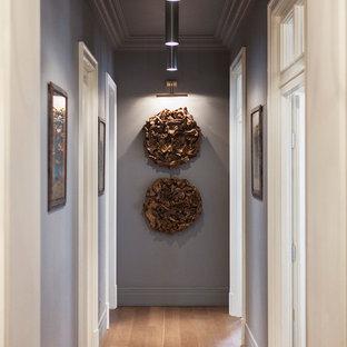Foto de recibidores y pasillos bohemios con paredes grises y suelo de madera en tonos medios